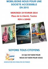Action, handicap, accessibilité, APF, revendication, mobilisation, Var, Toulon